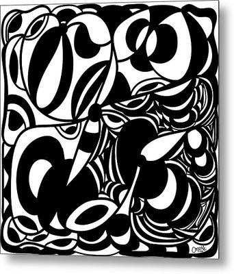 Back In Black And White 5 Modern Art By Omashte Metal Print by Omaste Witkowski