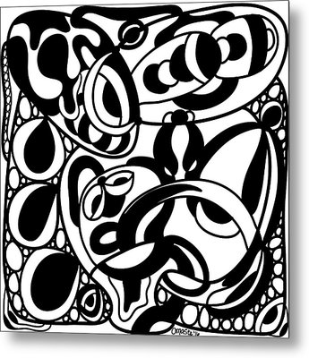 Back In Black And White 8 Modern Art By Omashte Metal Print by Omaste Witkowski