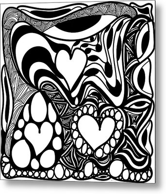 Back In Black And White 9 Modern Art By Omashte Metal Print by Omaste Witkowski