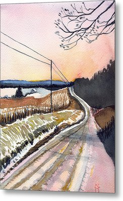 Metal Print featuring the painting Backlit Roads by Katherine Miller