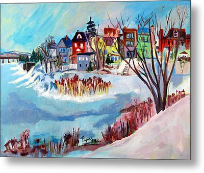 Backside Of Schenectady Stockade In February Metal Print by Betty Pieper