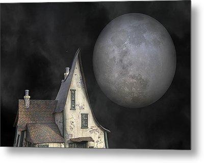 Backyard Moon Super Realistic  Metal Print by Betsy Knapp