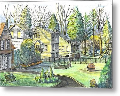 Metal Print featuring the painting Hometown Backyard View by Carol Wisniewski