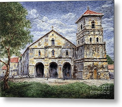 Metal Print featuring the painting Baclayon Church by Joey Agbayani