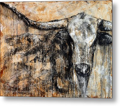 Bad Attitude Texas Longhorn Contemporary Painting Metal Print