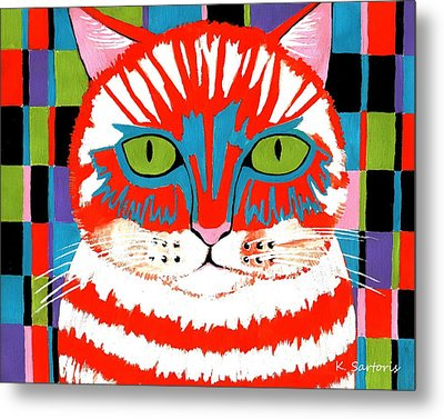 Metal Print featuring the painting Bad Cattitude by Kathleen Sartoris