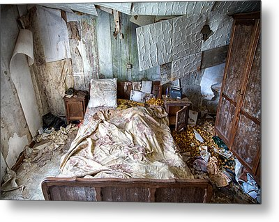 Bad Dream Bedroom - Abandoned House  Metal Print