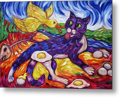 Bad Kitty Gets Caught Again Metal Print by Dianne  Connolly