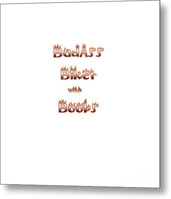 Badass Biker Boobs Metal Print