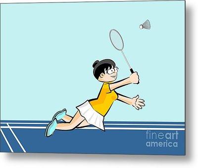 Badminton Girl Player Flies With Her Racket Metal Print