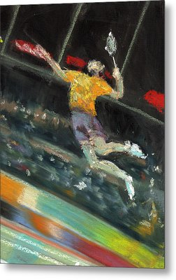 Badminton Player Metal Print by Paul Mitchell