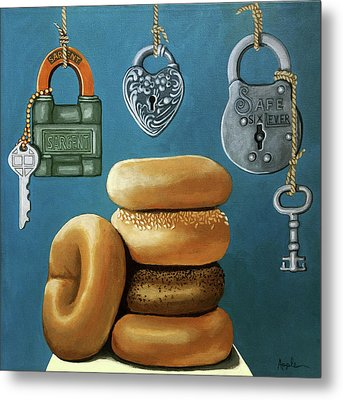 Bagels And Locks Metal Print by Linda Apple