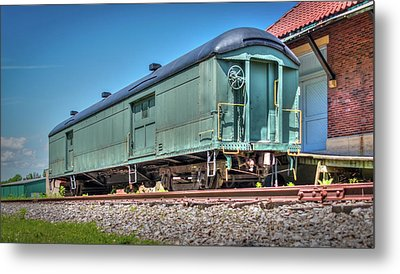 Baggage Car At Orchard Park Depot Metal Print by Guy Whiteley