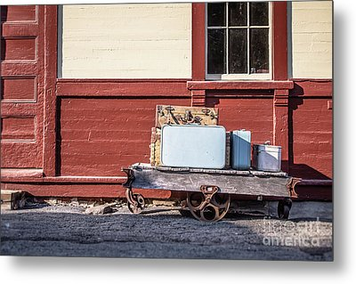Baggage Cart At An Old Train Station Metal Print