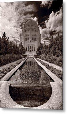 Bahai Temple Reflecting Pool Metal Print by Steve Gadomski