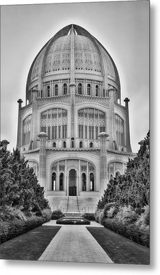 Metal Print featuring the photograph Baha'i Temple - Wilmette - Illinois - Vertical Black And White by Photography  By Sai