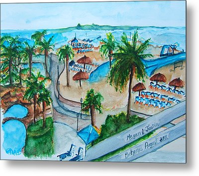 Bahamas Balcony Metal Print by Elaine Duras