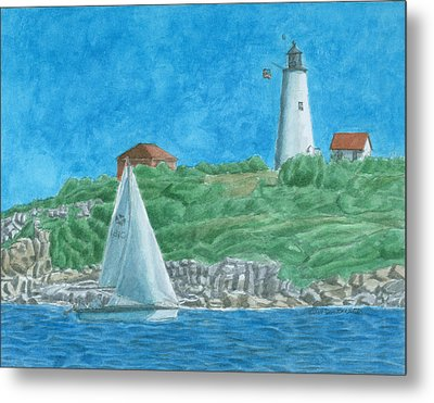 Bakers Island Lighthouse Metal Print by Dominic White