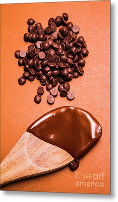 Baking Scene Of Spoon Covered With Chocolate Metal Print