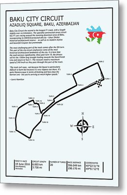 Baku City Grand Prix Circuit Metal Print by Mark Rogan