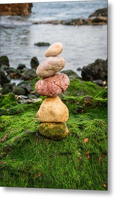 Balancing Zen Stones By The Sea Iv Metal Print by Marco Oliveira
