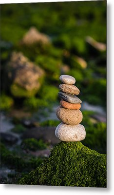 Balancing Zen Stones By The Sea Metal Print by Marco Oliveira