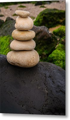 Balancing Zen Stones By The Sea V Metal Print by Marco Oliveira