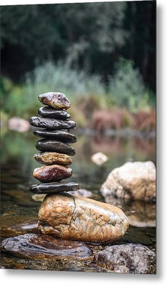 Balancing Zen Stones In Countryside River I Metal Print by Marco Oliveira