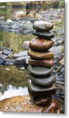 Balancing Zen Stones In Countryside River Vii Metal Print by Marco Oliveira