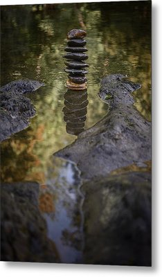 Balancing Zen Stones In Countryside River X Metal Print by Marco Oliveira