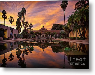 Balboa Park Botanical Building Sunset Metal Print