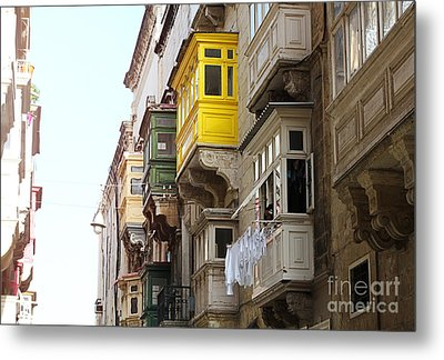 Balconies Of Valletta 1 Metal Print by Jasna Buncic