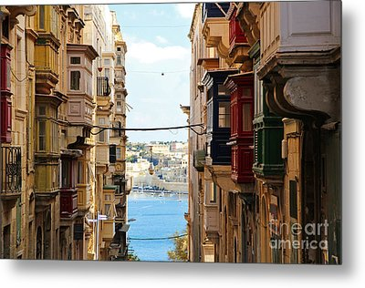 Balconies Of Valletta 2 Metal Print by Jasna Buncic