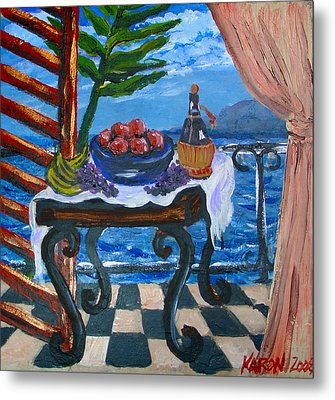Balcony By The Mediterranean Sea Metal Print by Karon Melillo DeVega