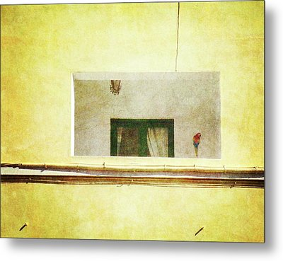 Metal Print featuring the photograph Balcony With Parrot by Anne Kotan
