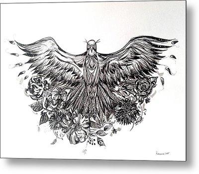 Bald Eagle And Flowers Metal Print by Kremena Petkova