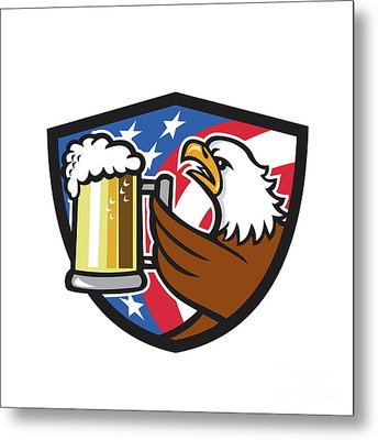 Bald Eagle Hoisting Beer Stein Usa Flag Crest Retro Metal Print