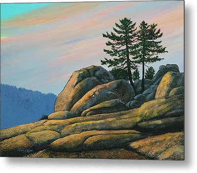 Metal Print featuring the painting Bald Rock At Sunset by Frank Wilson