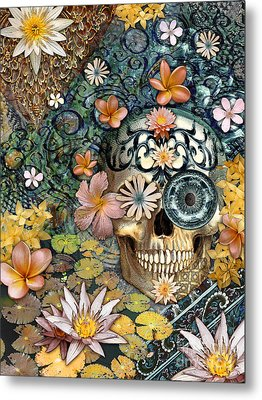 Bali Botaniskull - Floral Sugar Skull Art Metal Print