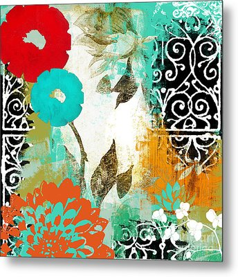 Bali I Abstract Collage Painting Metal Print by Mindy Sommers