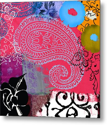 Bali IIi Abstract Collage Painting Metal Print by Mindy Sommers