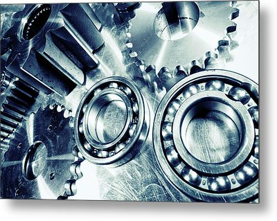 Ball-bearings And Cogs In Titanium Metal Print by Christian Lagereek