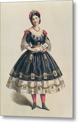 Ball Gown Decorated With Photographic Cartes De Visite  Metal Print by French School