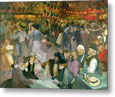 Ball On The 14th July Metal Print by Theophile Alexandre Steinlen