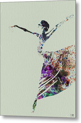 Ballerina Dancing Watercolor Metal Print by Naxart Studio