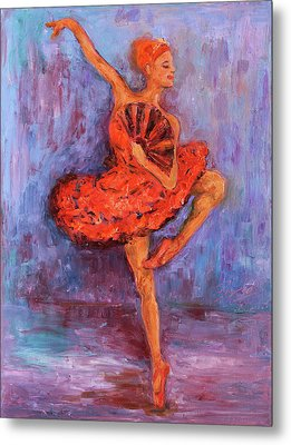 Metal Print featuring the painting Ballerina Dancing With A Fan by Xueling Zou