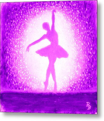 Metal Print featuring the painting Ballerina Purple And Pink by Bob Baker