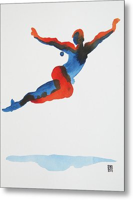 Metal Print featuring the painting Ballet Dancer 1 Flying by Shungaboy X