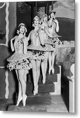 Ballet Dancers On Steps Metal Print by Underwood Archives