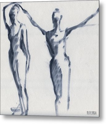 Ballet Sketch Two Dancers Arms Overhead Metal Print by Beverly Brown